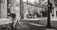 daydreaming (Gerard Koopen) Tags: street bw woman paris france 35mm fuji candid streetphotography fujifilm frankrijk parijs daydreaming 2014 straatfotografie xpro1 gerardkoopen