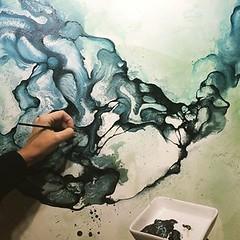 Detail from painting in progress.  Abstrakt maleri Artist Rikke Darling (Rikke Darling) Tags: modern painting abstractart colorfull kunst fineart moderne abstrakt maleri colourfull malerier galleri abstrakte salg bioart kb kunstgalleri farverigt