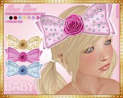 :*BABY*: Rose Bow (Princess Even) Tags: pink cute rose doll pastel lolita bow kawaii loli moe ribbon dolly rhinestones hairbow