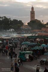 Djemaa EL Fna and Koutoubia Minaret (pbelskamp) Tags: morocco marrakech marokko djemaaelfna koutoubiaminaret