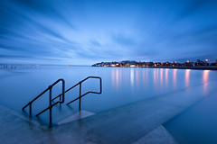 Spring High Tide at the Lake (~g@ry~ (clevedon-clarks)) Tags: uk longexposure lake seascape lightpainting marina reflections landscape coast streetlights victorian somerset coastal bluehour seafront filters marinelake clevedon northsomerset lightreflections 3stop ndgraduated