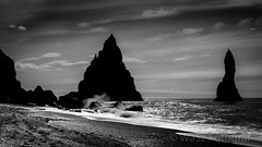 Moonlight on the beach. (WaSz-Fotograf) Tags: ocean travel sea holiday seascape black tourism beach nature silhouette rock dark landscape coast iceland hexagonal pillar nobody landmark formation coastal coastline column shape basalt icelandic geological reynisfjara reynisdrangar 500px ifttt halsanefhellir