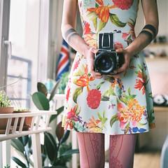 Spring. (Hello i'm Wild !) Tags: light plants selfportrait 6x6 film girl analog ink mediumformat square dof bokeh tattoos 120mm cameraporn hasselblad501cm planarcb80mmf28