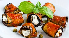 Eggplant rolls with ricotta cheese with herbs and raw tomato sauce, vegetarian recipes (Wine Dharma) Tags: italy turn power flavor dish eggplant an full vegetarian how ricotta exquisite simple italianfood italiancuisine unleash ricottacheese italianwines eggplantrolls eggplantrecipes