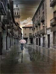 Paseo otoal por una calle de Castilla (Yo Sirio) Tags: street color girl rain calle lluvia chica paraguas umbrela