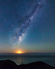 Galactic core, with a lunar chaser. (nightscapades) Tags: sky moon beach night stars coast bush sydney australia galaxy moonrise astrophotography newsouthwales astronomy nightscapes milkyway garie royalnationalpark gariebeach galacticcore lilyvale