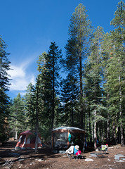 Camp (KGHofSF) Tags: california morning camping trees summer vacation usa mountains forest outside photography photo day seasons chairs nationalforest pines photograph vegetation manmade photomerge activity campground manufactured cascaderange lassennationalforest kgh rockyknoll kghofsf 2015summerroadtrip