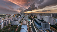 The Long Stretch (Mabmy) Tags: city sunset panorama colors architecture clouds buildings singapore glow wind sony lavender 16mm hdb ica a7rii