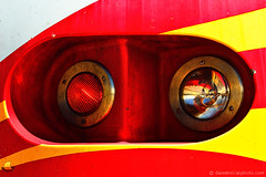 Headlight Close Up - New Mexico Rail Runner Express, Santa Fe (DTA_6427) (masinka) Tags: railroad red usa newmexico santafe yellow closeup train happy colorful industrial unitedstates bright railway roadtrip transportation express nm warmcolors 2013 railrunner nmrx etbtsy