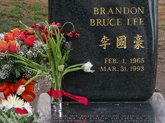 Tributes (prima seadiva) Tags: flowers tombstone graves brucelee chs lakeviewcemetery brandonlee march311993
