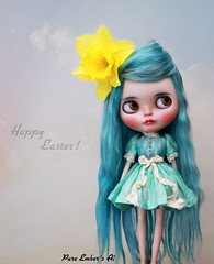Happy Easter! (pure_embers) Tags: uk alpaca girl hair easter doll dolls dress teal stablehouse cupcake daffodil blythe neo custom pure takara ai licca embers curio rbl reroot pureembers embersai