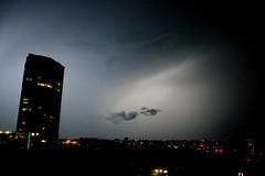 DSC_0438 (Megansjester) Tags: city sky storm night buildings lights lightening nuit clairs