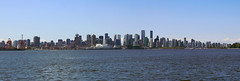 Downtown Vancouver Panorama (Jordan Jamieson) Tags: ocean city urban panorama canada water vancouver buildings downtown cityscape bc waterfront britishcolumbia towers sunny bluesky burrardinlet canadaplace coalharbour vancity harbourcentre raincity portmetrovancouver
