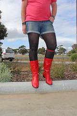 Denim Shorts, Tights, Boots, Accessories (Unusual Stylings) Tags: red boots tights harajuku shorts collar unisex choker leggings menintights redboots collars manintights denimshorts menstights guyintights calfboots guywearingtights menwearingtights manwearingtights maninleggings meggings meninleggings guyinleggings manwearingleggings menwearingleggings guywearingleggings mensleggings semiopaquetights freedressing semisheertights semisheerleggings semiopaqueleggings
