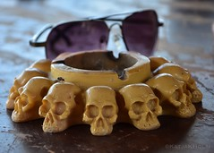 On the table at Sea Rovers Dive Center in Pemuteran Bali. (katjakarumoholm) Tags: sunglasses ashtray onthetable inbali