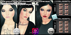 crowbigvendorfatpack ([VIRTUAL/INSANITY] / Loviathar Hellman) Tags: life make up rock demo goth makeup sl event pack buy second rockabilly marketplace crow now eyeshadow raven eyelid eyeliner fatpack catwa lelutka