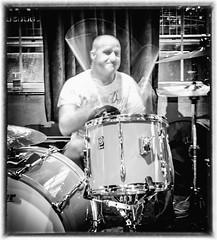 Day 123, 2016, a photo a day. (lizzieisdizzy) Tags: drums sticks drum drummer entertainer drumkit hihat cymbal drumsticks bassdrum whiteandblack highhat
