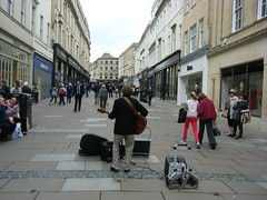 Musician performing in the City of Bath, England (rossendale2016) Tags: road street city england musician weather electric standing shopping idea stand spring bath guitar loudspeaker centre voice tourist entertainment musical singer excellent shops april entertainer unusual contract electrical speakers guitarist recording clever attraction talented entertaining guitaris