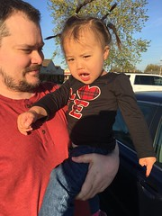 Pointing the finger (hyprsleepy) Tags: baby cute girl hair asian kid crazy toddler funny finger ponytail bernie pointing sanders wagging