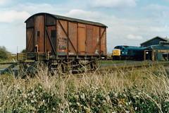 19891028 019 March. Internal User 12T Stores Van ZDW 041886, 45133 (D40) Lurks Behind (15038) Tags: wagon march br diesel trains goods locomotive railways freight britishrail d40 class45 45133 internaluser 041886