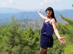 View (Paula Satijn) Tags: mountains hot sexy girl sunshine outside view purple silk cyprus skirt tgirl transvestite satin miniskirt gurl