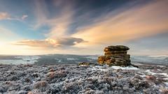 Mothers Cap (davepsemmens) Tags: light snow cold ice sunrise golden peakdistrict peaks motherscap
