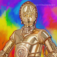 Pop Art C3PO painting (Howie Green) Tags: art painting star robot pop wars c3po
