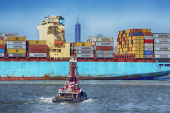 Container Ship Arriving (PAJ880) Tags: new york ny skyline island harbor ship amy sofia c off container wrc tug staten mcallister maersk