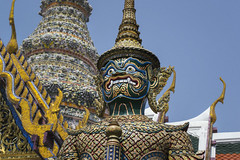 Palace Giants (tylerkingphotography) Tags: city travel yak art statue architecture lens thailand temple photography nikon southeastasia king photographer outdoor bangkok buddhist kingdom buddhism grand palace explore backpacking thai giants kit 1855mm traveling amateur guardian watphrakaew caretaker naturespirit yaksha yakshis d3100