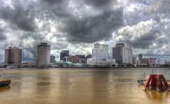 NOLA Downtown (karthik tappa) Tags: new sea panorama reflection orleans downtown view cloudy manmade hdr
