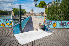 Large Scale Painting In Progress (Serendigity) Tags: city bridge paris france art seine river painting workinprogress lovelocks enpleinair