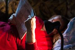 Reading. (DinjaPhoto) Tags: old grandma light lamp female magazine reading evening sofa kherson d7100  ukraine