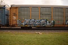 JIGL (TheGraffitiHunters) Tags: auto street pink blue red white black art car yellow train graffiti colorful paint tracks spray rack carrier freight autorack benched benching jigl