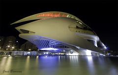 Palau de les Arts (J. Barrena) Tags: bridge blue espaa water valencia azul architecture night reflections puente lights luces noche spain arquitectura agua arts artes palau reflejos