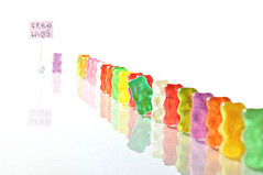 queue (brescia, italy) (bloodybee) Tags: food reflection colors sign fun mirror candy board humor sugar queue letter sweets q gummybears jellybears freehugs 365project 52weeksproject azproject