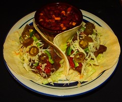 Garlic Lime Bison Tacos (ezigarlick) Tags: food corn tacos bbq onions lettuce garlic lime homecooking bison cilantro redbeans bellpeppers jackcheese jalepenopeppers flourtortillas tomatosalsa