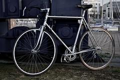 retro 1968 Mathias Stollenwerk (Aachen) racing bicycle I (Jualbo) Tags: bike bicycle port vintage river harbor steel ace super retro record 1968 hafen fluss mathias kran fahrrad rostock dura vorpommern mecklenburg jahre shimano campagnolo rennrad nuovo 2016 60er warnow hafenkran stollenwerk
