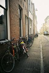 Groningen (emilyharriet) Tags: street city holland film netherlands analog 35mm buildings mju bikes olympus bicycles ii analogue groningen olympusmjuii
