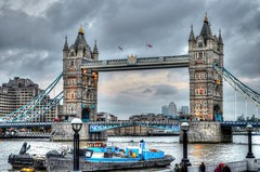 Tower Bridge (diminji (Chris)) Tags: street bridge london water thames towerbridge buildings boats bridges riverthames hdr barges lovelondon hdrtoning