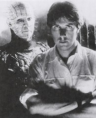 "Clive Barker and his Pinhead creation from the movie  ""Hellraiser"" (1987) (lhboudreau) Tags: movie 1987 barker clive pinhead hellraiser motionpicture clivebarker cenobite cenobites"