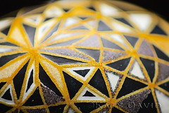 """Yellow Star Trapeze"" (Katy David Art) Tags: white black art geometric yellow grid egg fine goose framework eggshell pysanka pysanky"