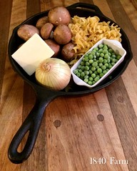 "After a bitterly cold day, we need comfort food at our farmhouse table tonight. I think that a cast iron skillet filled to the brim with mushrooms, peas, and egg noodles with s bit of bacon crumbled on the top should do the trick!  #1840farm #farmhousekit • <a style=""font-size:0.8em;"" href=""http://www.flickr.com/photos/54958436@N05/24172448386/"" target=""_blank"">View on Flickr</a>"