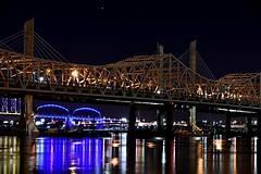 Louisville bridges over the Ohio (sniggie) Tags: bridge star nightlights kentucky indiana louisville nightphoto ohioriver i65 clearskies interstate65 louisvilleskyline big4bridge abrahamlincolnbridge