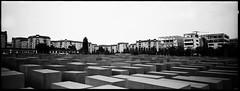 Stelae (RafaelGonzalez.) Tags: blackandwhite berlin film architecture 35mm germany holocaust memorial europe panoramic analogue stelae hasselbladxpan rafaelgonzalez