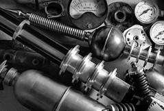 steampunk rifle progress 03 HD jan 16 (Shaun the grime lover) Tags: detail monochrome metal aluminum gun steel parts rifle dial weapon copper gauge hdr components aluminium assembly steampunk