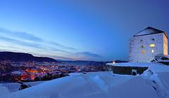 blue hour over Trondheim (krøllx) Tags: blue winter light sunset white snow water colors norway river season landscape seasons hour bluehour trondheim fortress festning sørtrøndelag nidelva kristianstenfestning trøndelag sør 1601220063