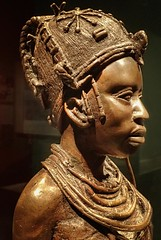 Profile view of Bronze Sculpture of Ideal Benin Woman by Osaize Omodamwen Nigeria 1984 CE (mharrsch) Tags: africa portrait sculpture woman statue female bronze washingtondc smithsonian profile nigeria nationalmuseumofafricanart mharrsch idealbeninwoman osaizeomodamwen