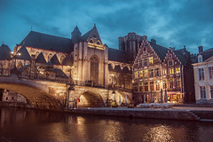 Ghent (mcrucera) Tags: travel bridge light building architecture night canal europe nightshot belgium belgi stmichael belgica ghent gent graslei gante flanders oostvlaanderen korenlei sintmichielsplein