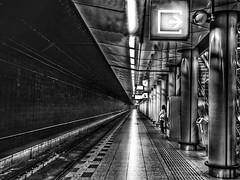 The last passenger! (janetmeehan) Tags: blackandwhite holland monochrome amsterdam train mono railway schipol hollandthenetherlands