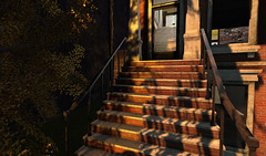 A little music from the house next door (Teddi Beres) Tags: life light summer sun sunlight window stairs scenery shadows steps warmth front sl porch second breeze